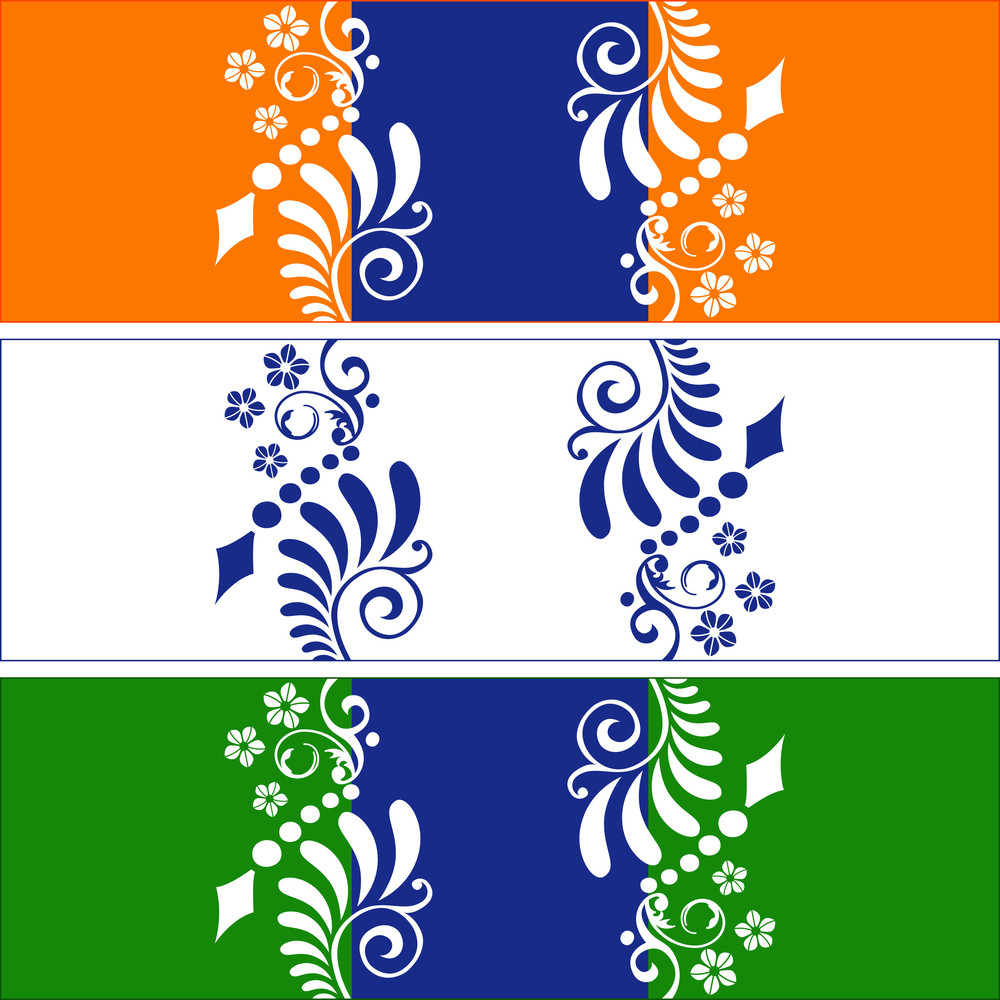 Abstract Design With Indian Tricolor. Vector Illustration.