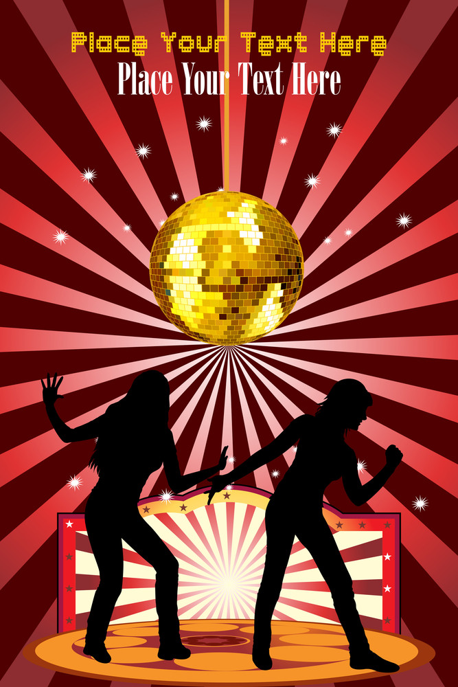 Abstract Disco Background With Youth Silhouette
