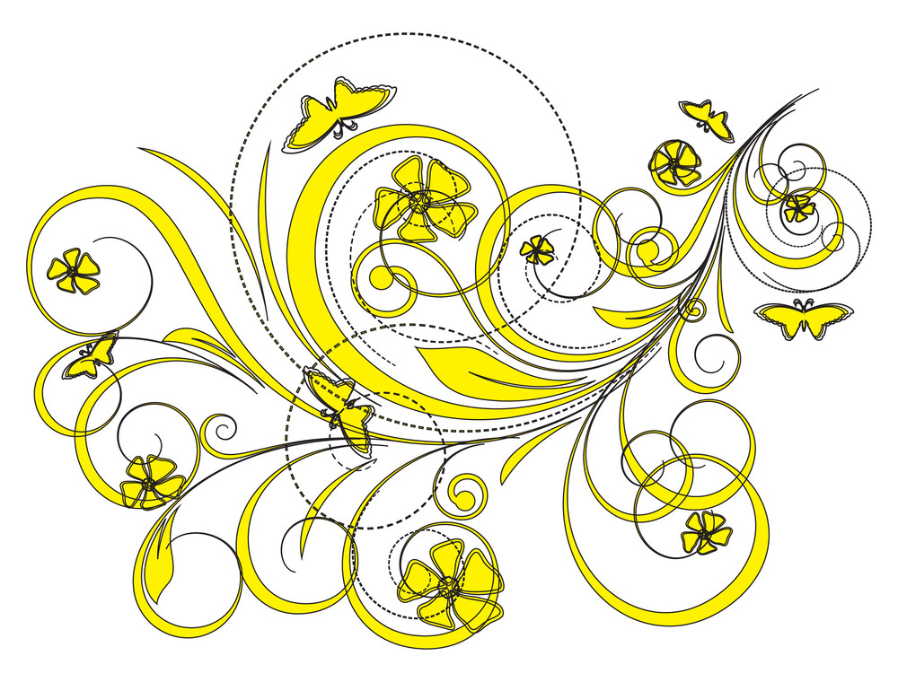 Abstract Drawing Art Of Floral Design Elements