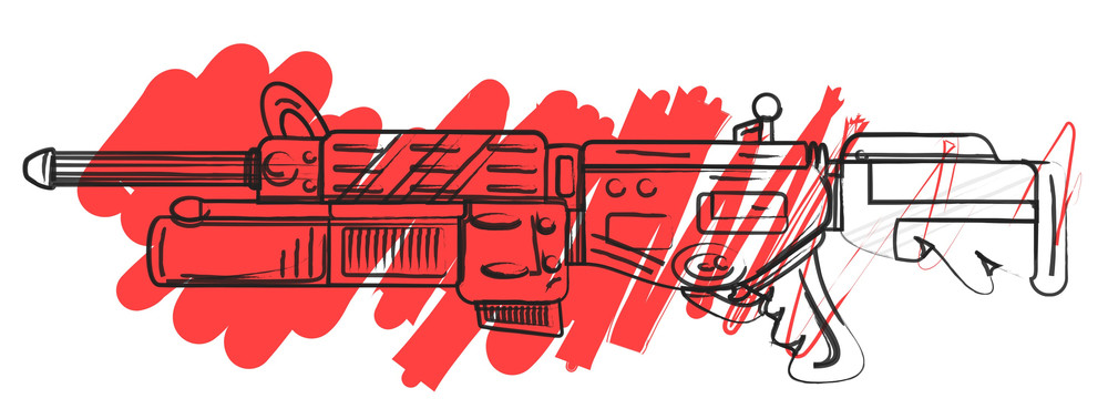 Abstract Drawing Of Shooting Gun
