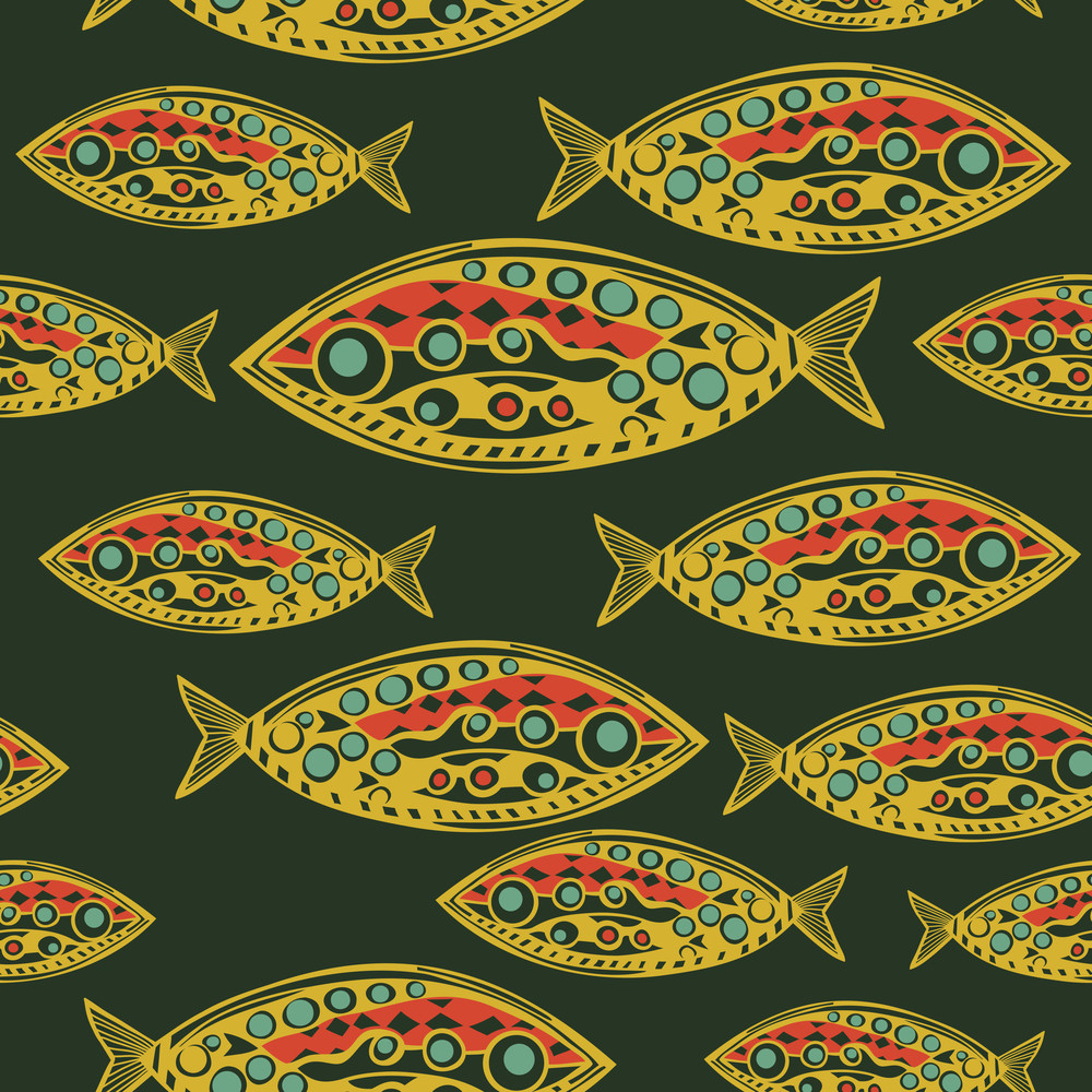 Abstract Fish Pattern. Made As Seamless.
