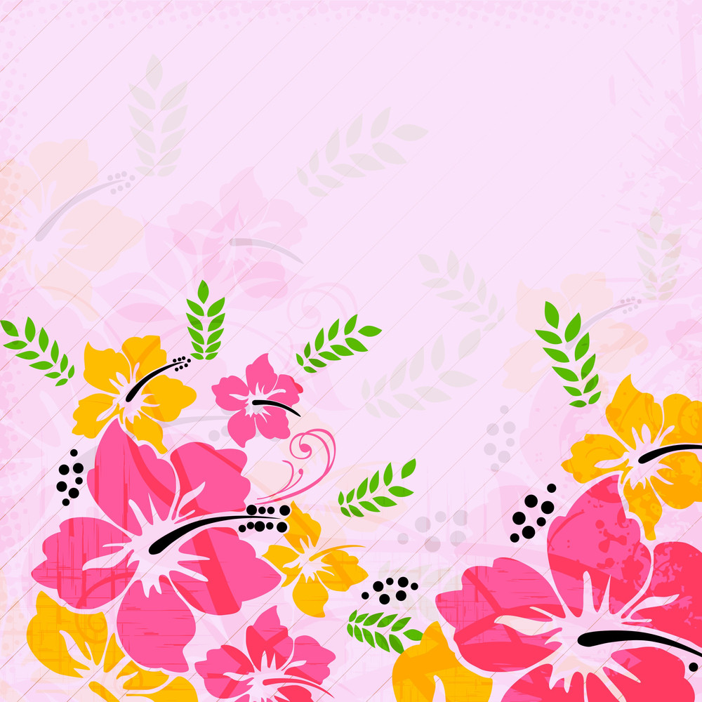 Abstract  Floral Background With Flowers
