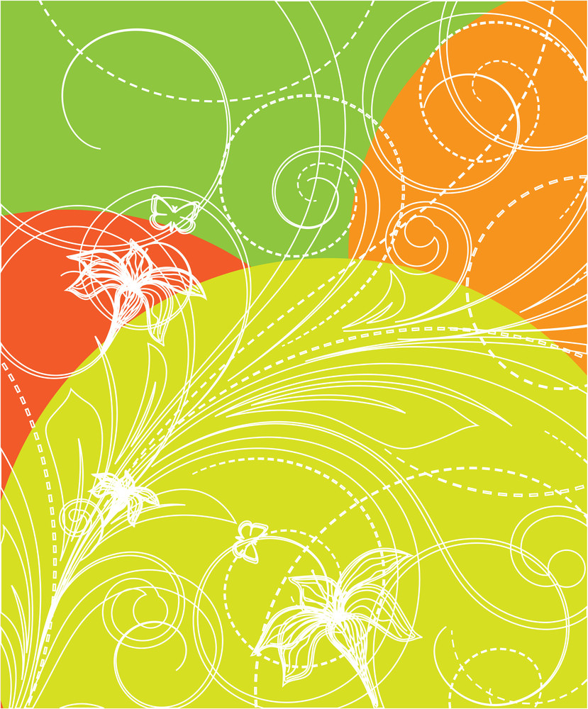 Abstract Floral Drawing Background