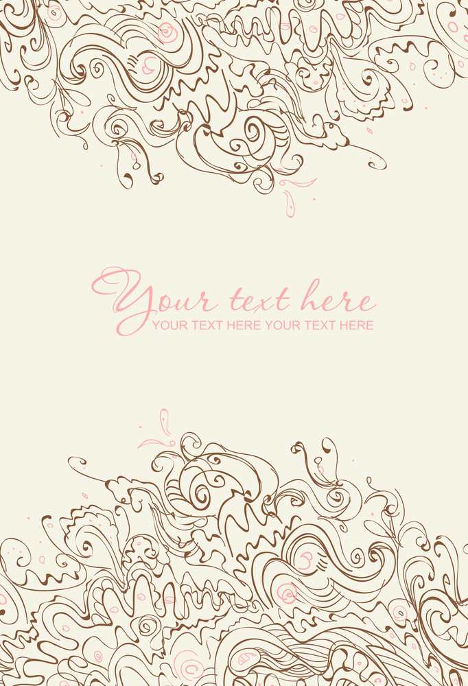 Abstract Floral Greeting Card. Hand Paint Vector Illustration.