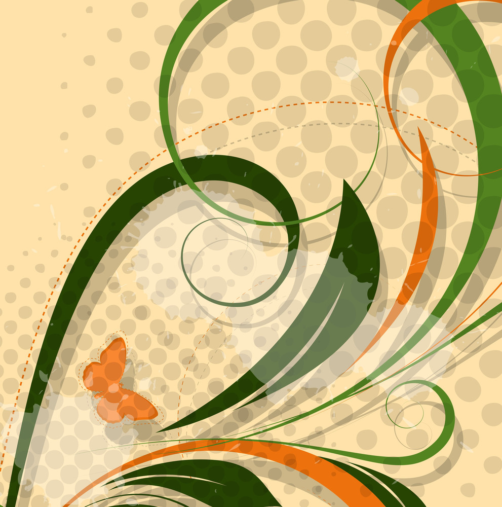 Abstract Floral Halftone Backdrop