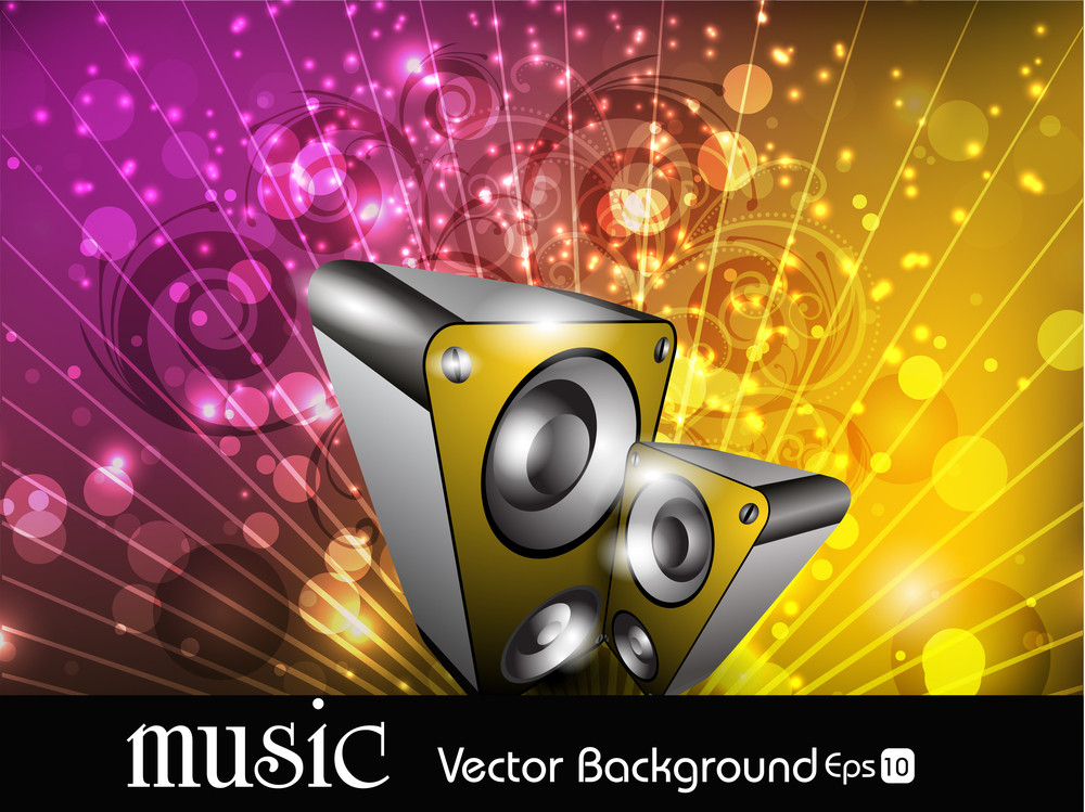 Abstract Floral Music Background In Multi Colors Rays And Spekers.