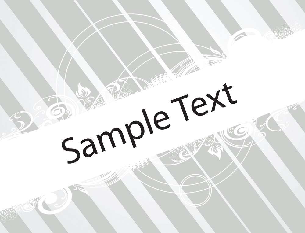 Abstract Floral Vector Design Element For Sample Text In Gray