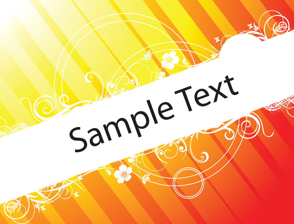Abstract Floral Vector Design Element For Sample Text In Red And Yellow