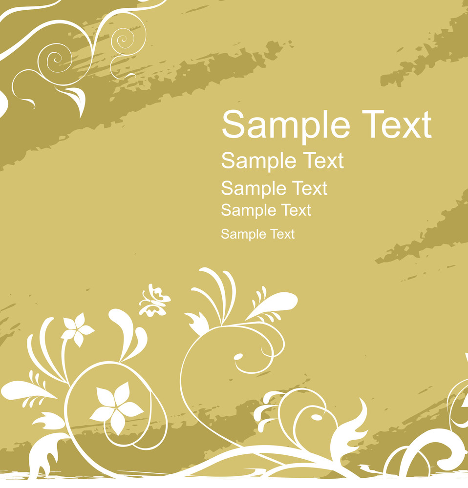 Abstract Floral With Sample Text Vector Wallpaper
