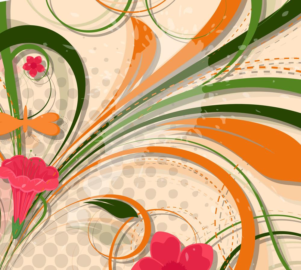 Abstract Flourish Halftone Design