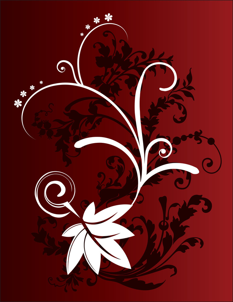 Abstract Flower Background On Deep Red Background
