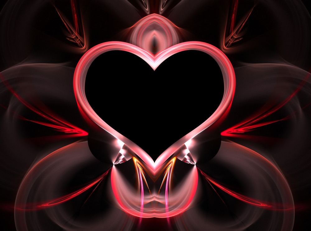 Abstract fractal heart layout with plenty of copyspace