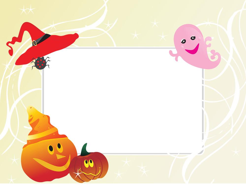 Abstract Frame With Halloween Cartoon Illustration
