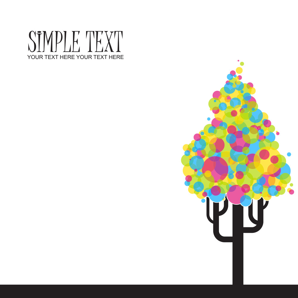 Abstract Funky Tree From Balloons. Vector Illustration