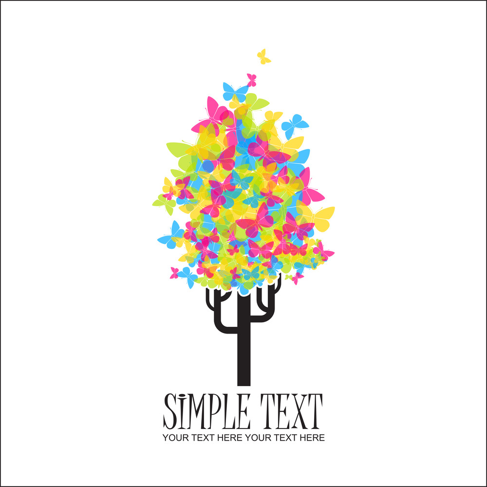 Abstract Funky Tree From Butterflies. Vector Illustration