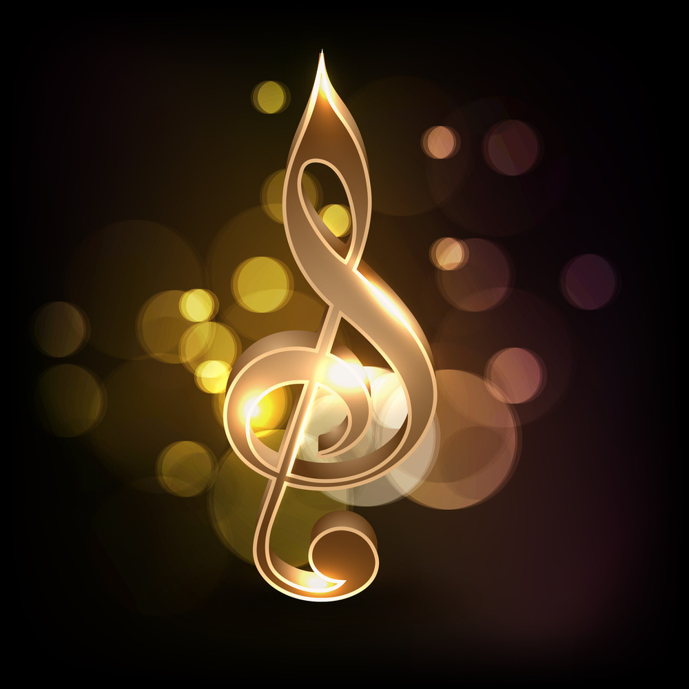 Abstract Golden Music Note On Shiny Background