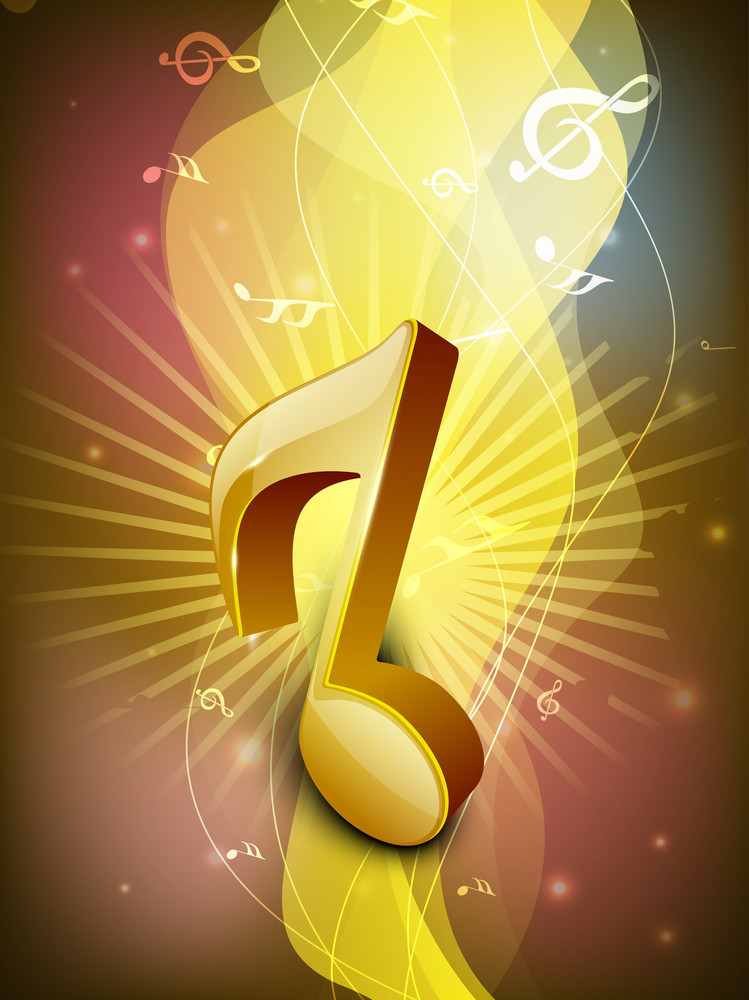 Abstract Golden Musical Note On Rays Background.