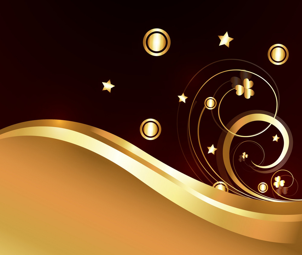 Abstract Golden Ornamental Flourish