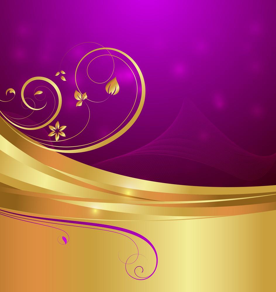 Abstract Golden Ornate Floral Design