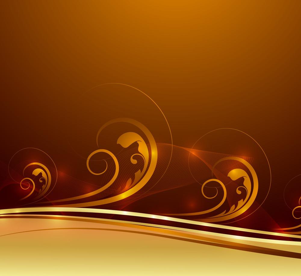 Abstract Golden Swirl Sparkles Design