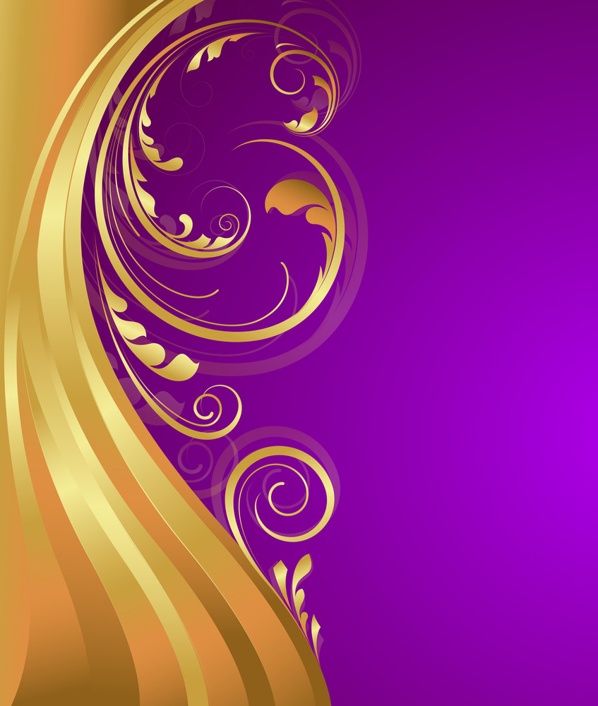 Abstract Golden Wave Floral Design