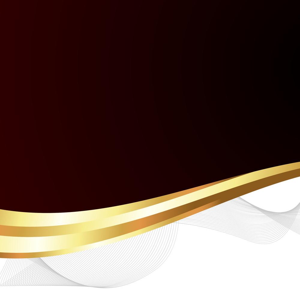 Abstract Golden Wavy Banner