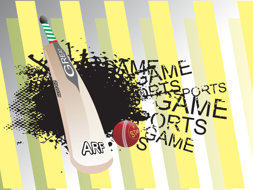 Abstract Grunge Background With Cricket Bat And Ball