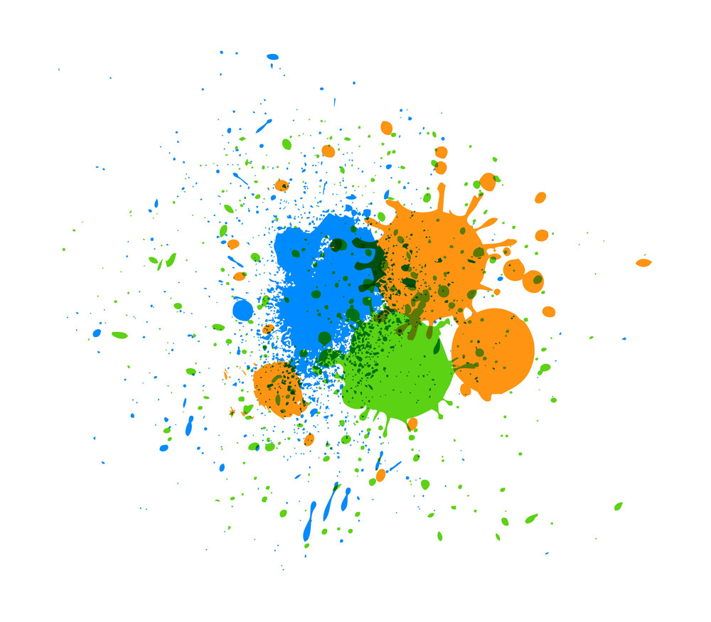 Abstract Grunge Colored Paint Drops