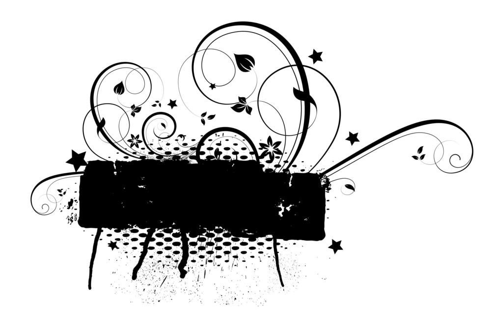 Abstract Grunge Floral Banner Design