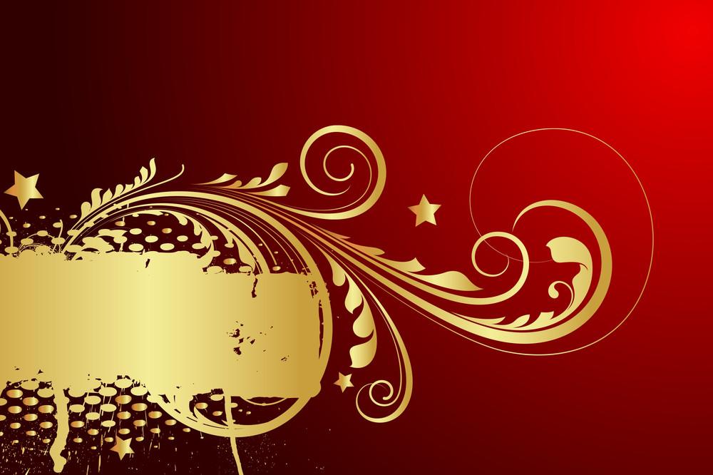 Abstract Grunge Golden Floral Design