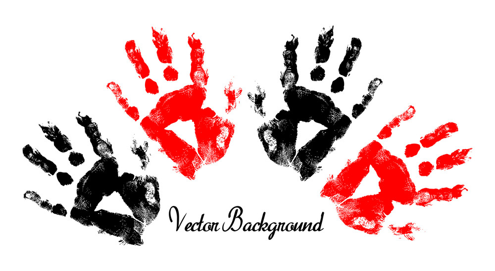Abstract Grunge Hand Prints Banner