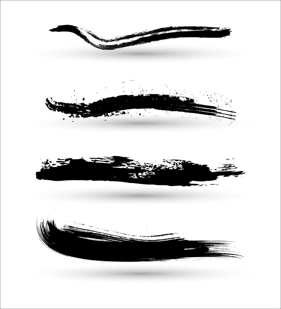 Abstract Grunge Retro Brush Strokes Elements
