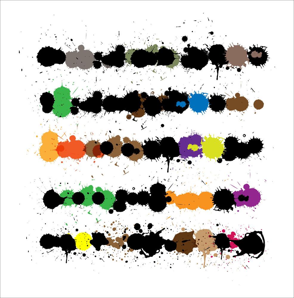 Abstract Grunge Splashes Elements