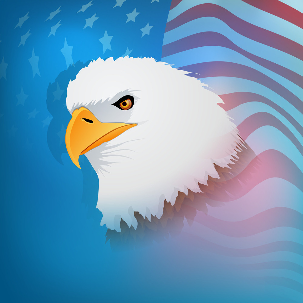 Abstract Grungy Background In American Flag Color For 4th Of July American Independence Day With National Bird Eagle On National Flag Background.
