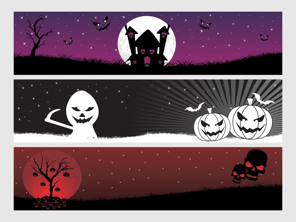 Abstract Halloween Banner Series Set13