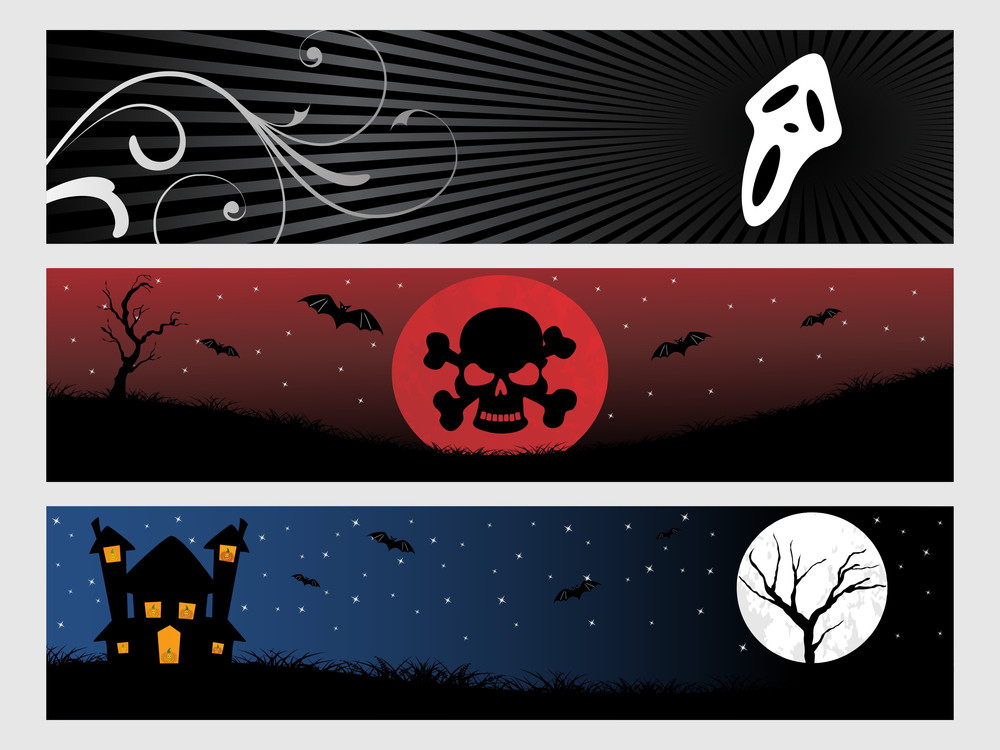 Abstract Halloween Banner Series Set15