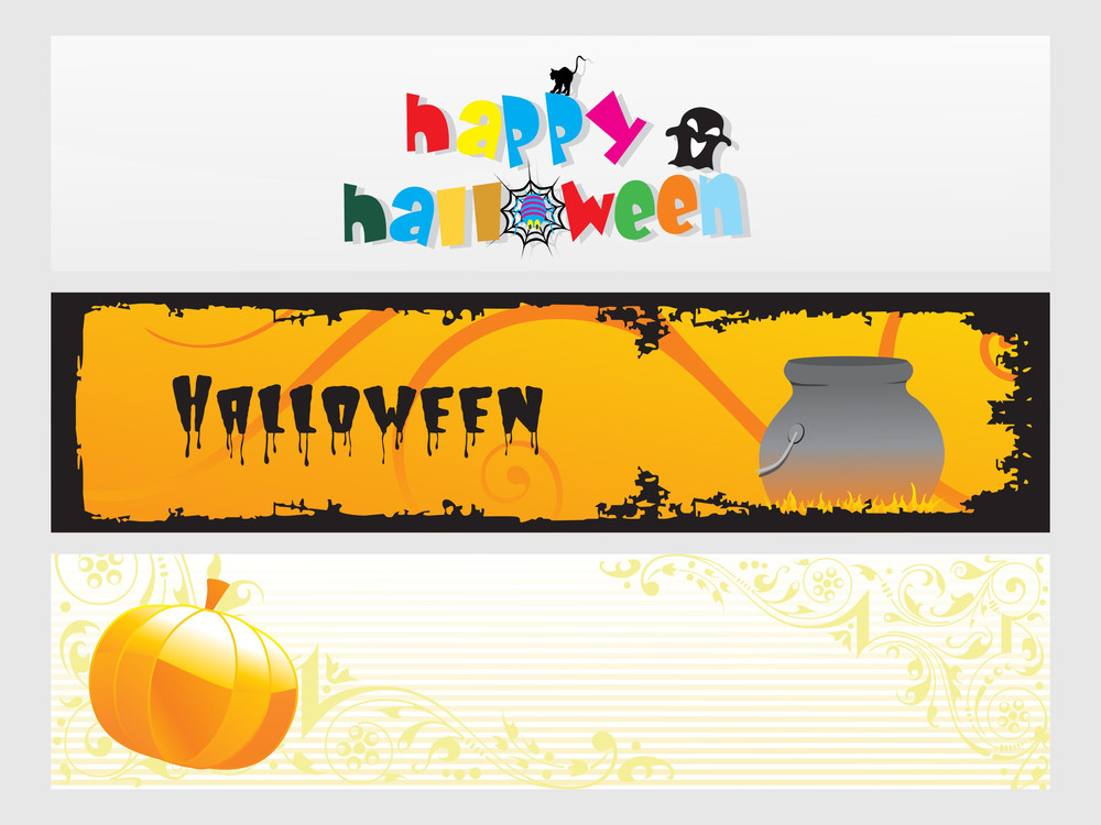 Abstract Halloween Banner Series Set18