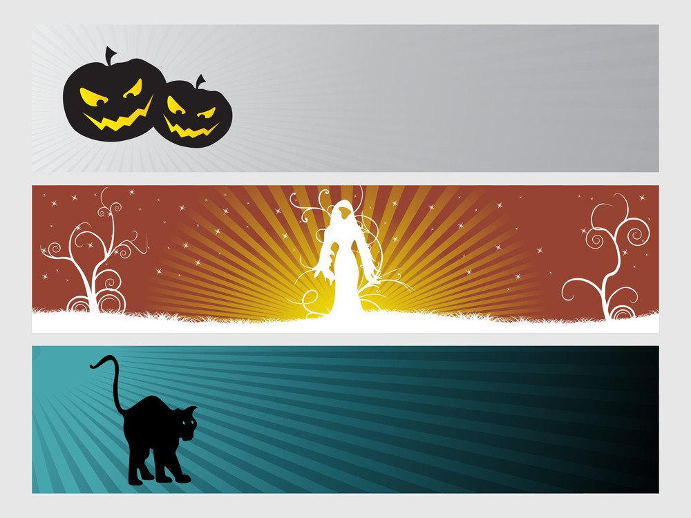 Abstract Halloween Banner Series Set21
