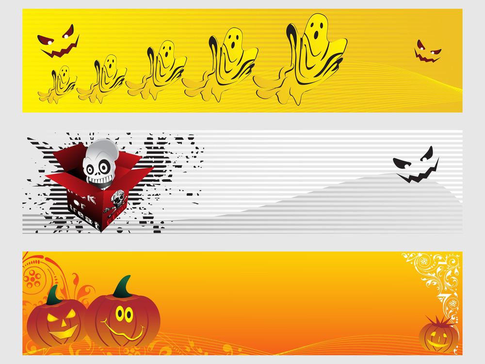 Abstract Halloween Banner Series Set27