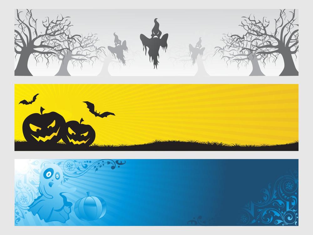 Abstract Halloween Banner Series Set29