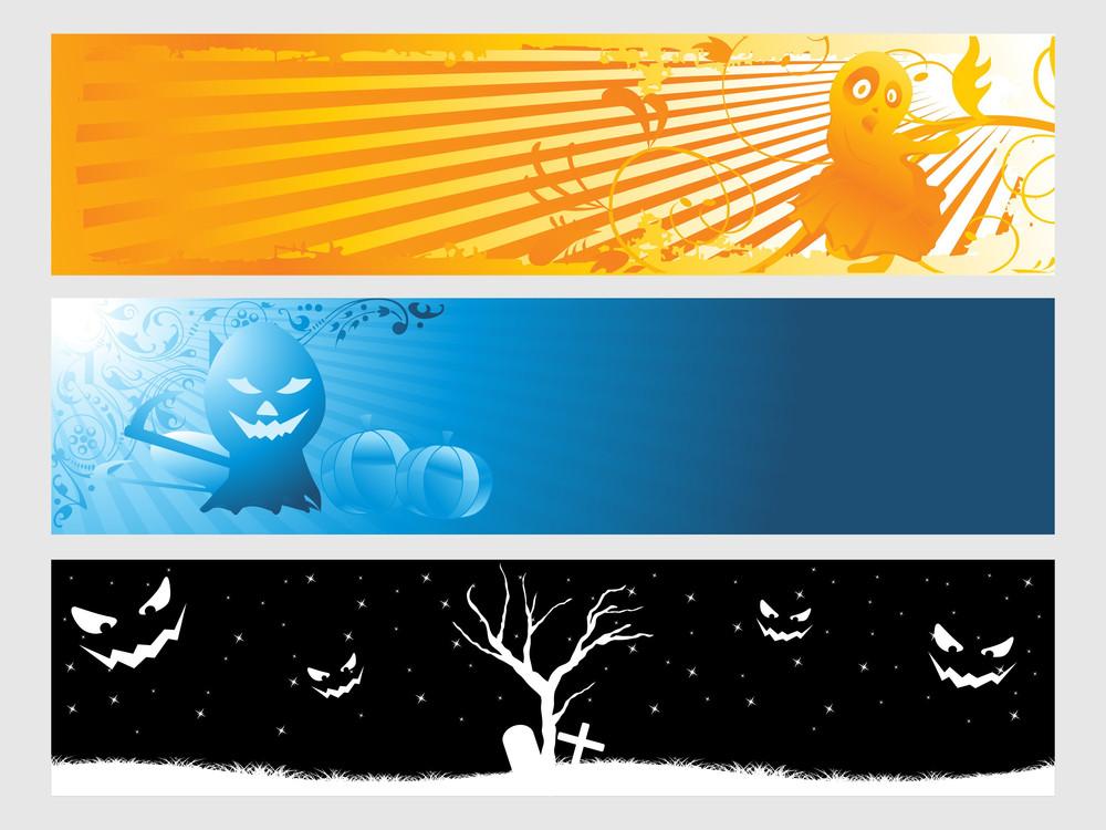 Abstract Halloween Banner Series Set31