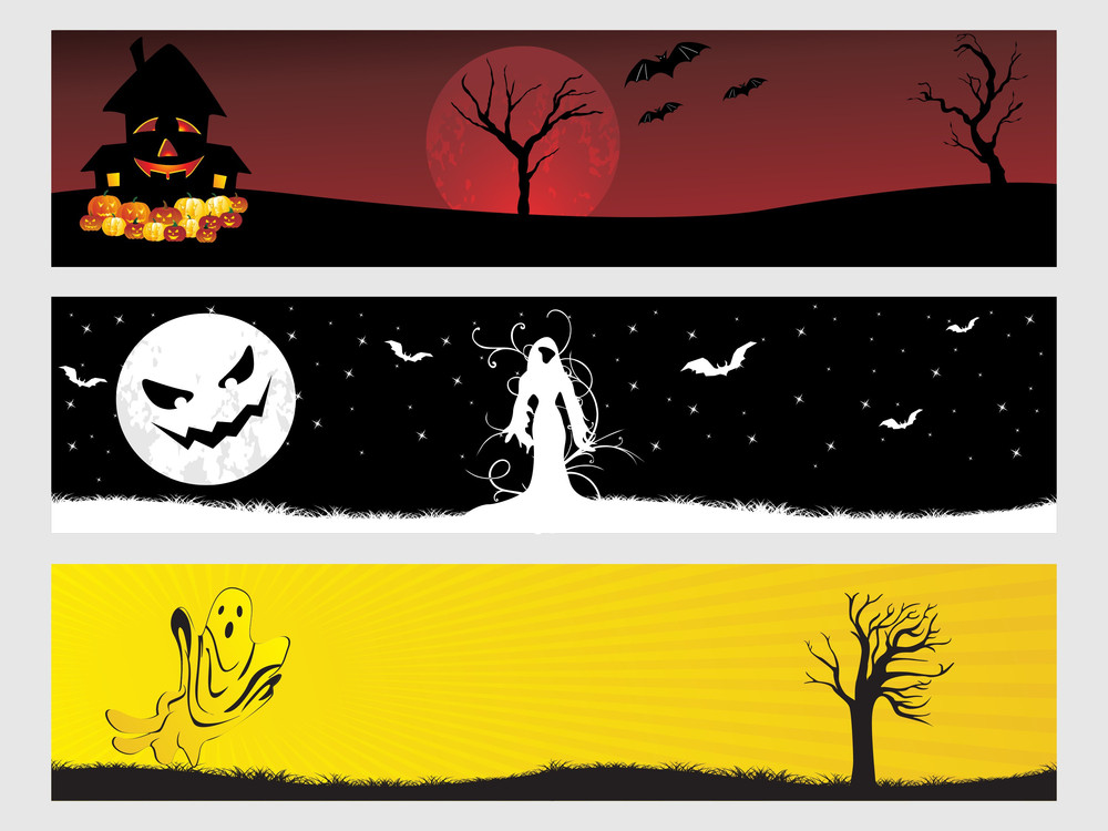 Abstract Halloween Banner Series Set32