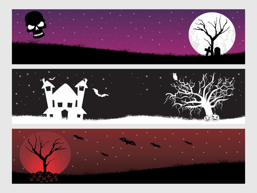 Abstract Halloween Banner Series Set4