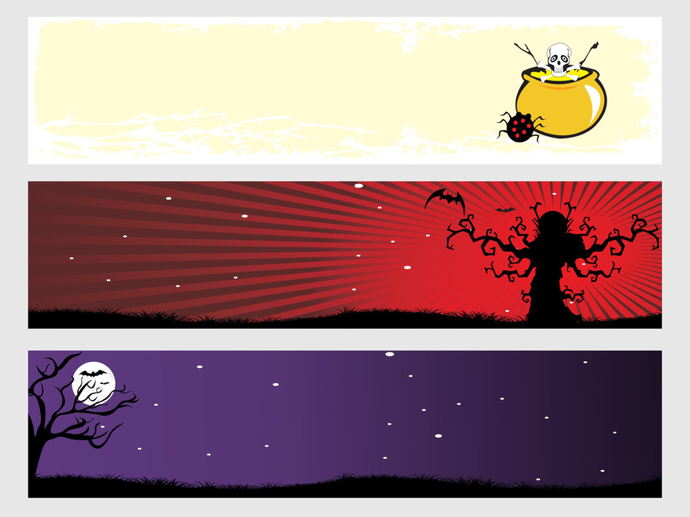 Abstract Halloween Banner Series Set6