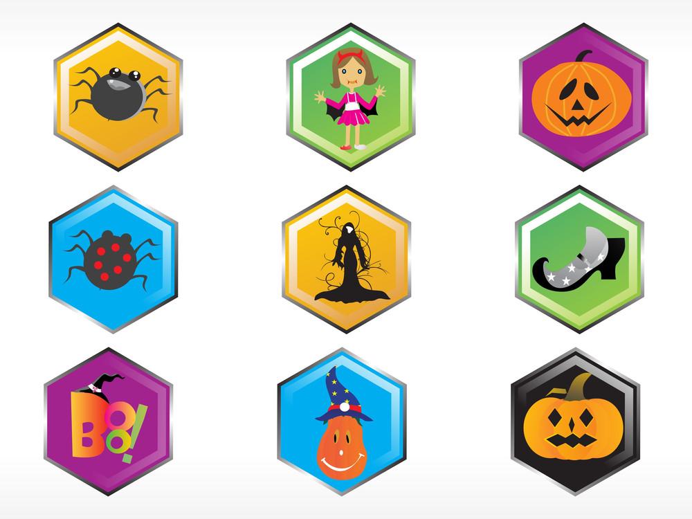 Abstract Halloween Sticker Series Set8