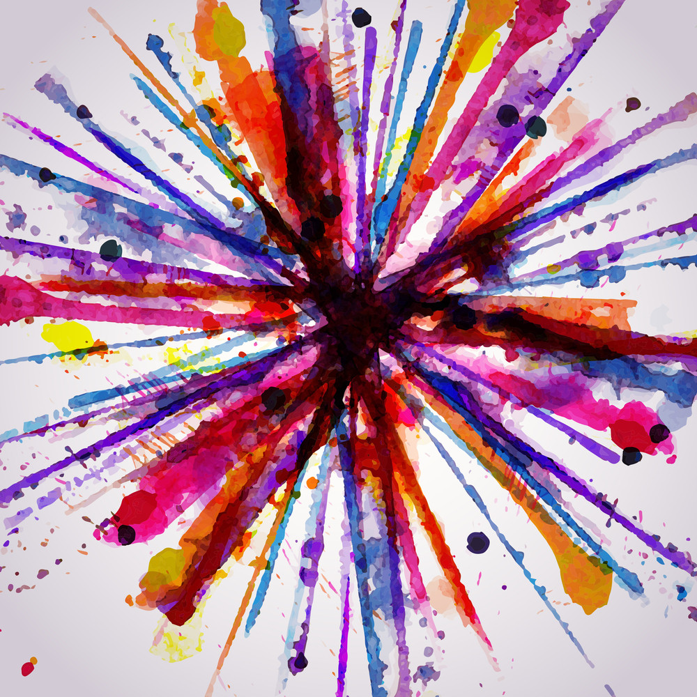 Abstract Hand Drawn Watercolor Background Firework