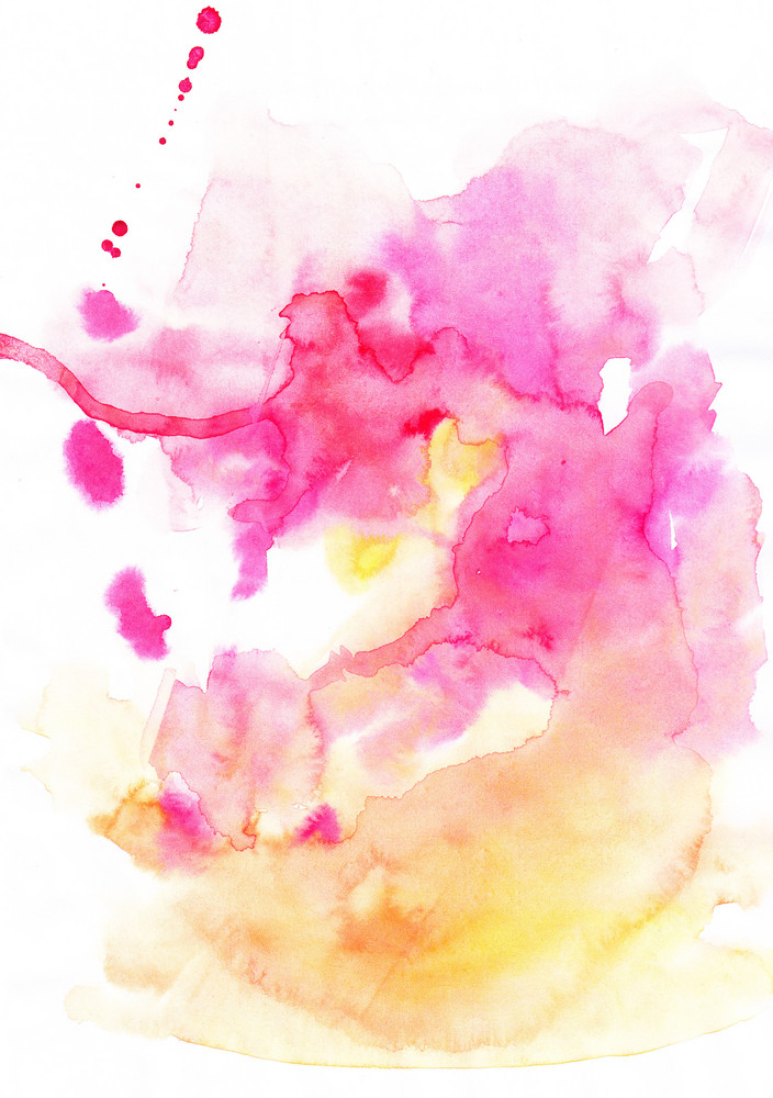 Abstract Hand Drawn Watercolor Background In Yellow And Pink