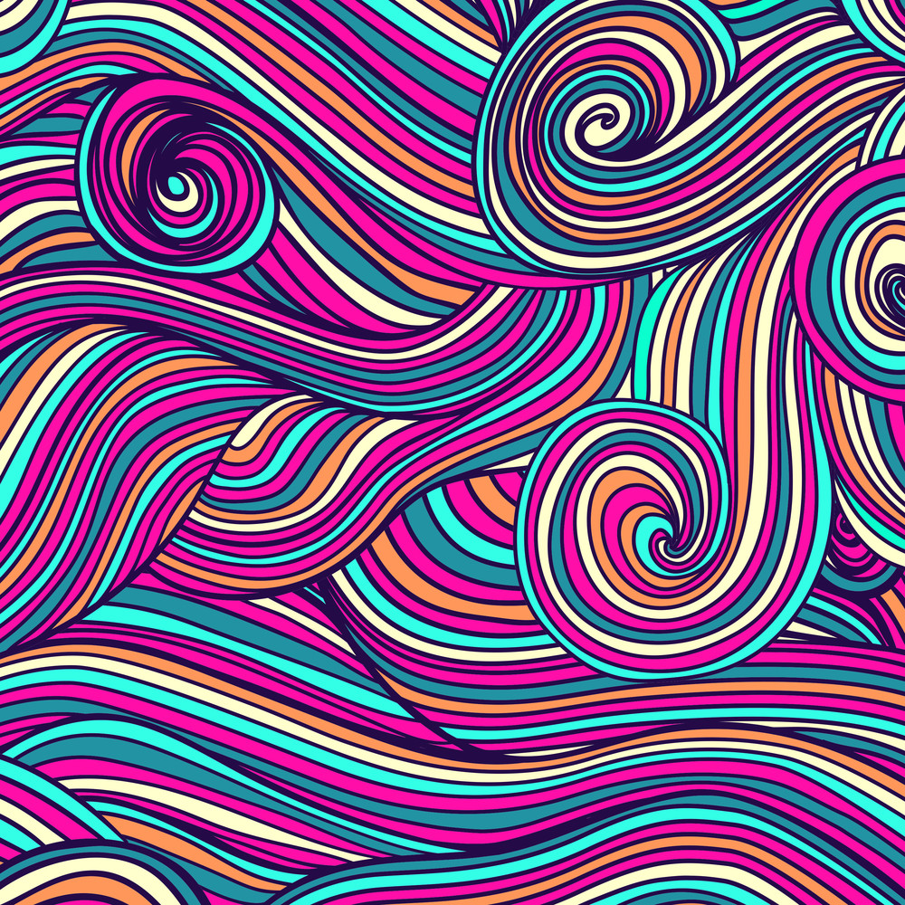 Abstract Hand-drawn Waves Texture