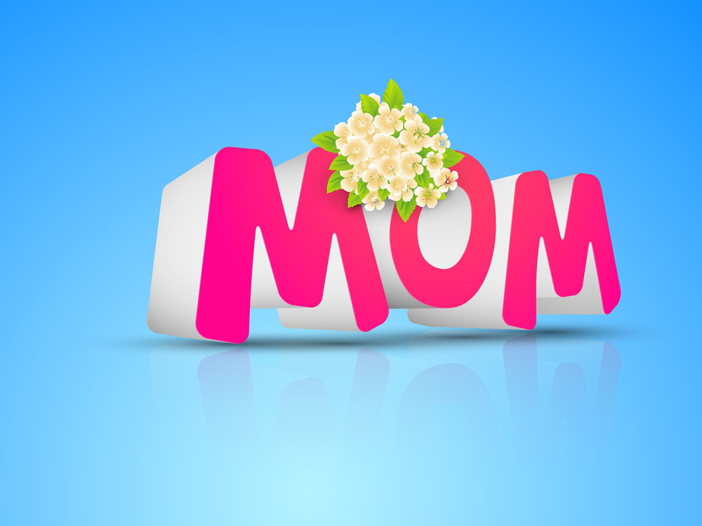 Abstract Happy Mothers Day  With 3d Pink Text