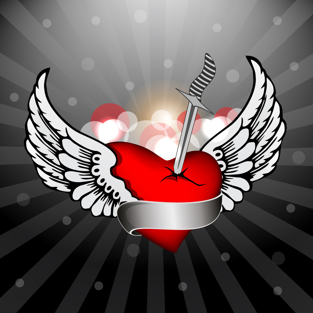 Abstract Heart With The Wings And Knife. Vector.
